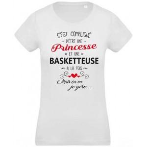 T-shirt imprimé c'est compliqué d'être une princesse et basketteuse