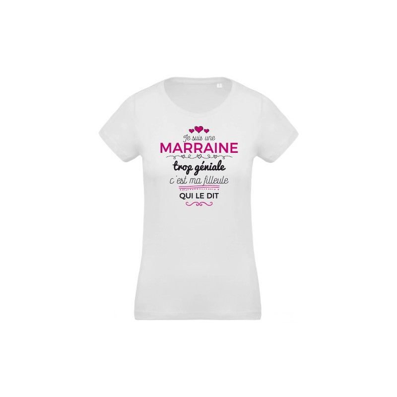 t shirt imprim pour femme je suis une marraine trop g niale. Black Bedroom Furniture Sets. Home Design Ideas