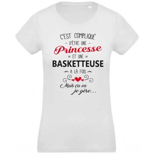 26407633a52b T-shirt imprimé c est compliqué d être une princesse et basketteuse