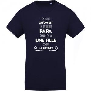 T-shirt meilleur papa une fille