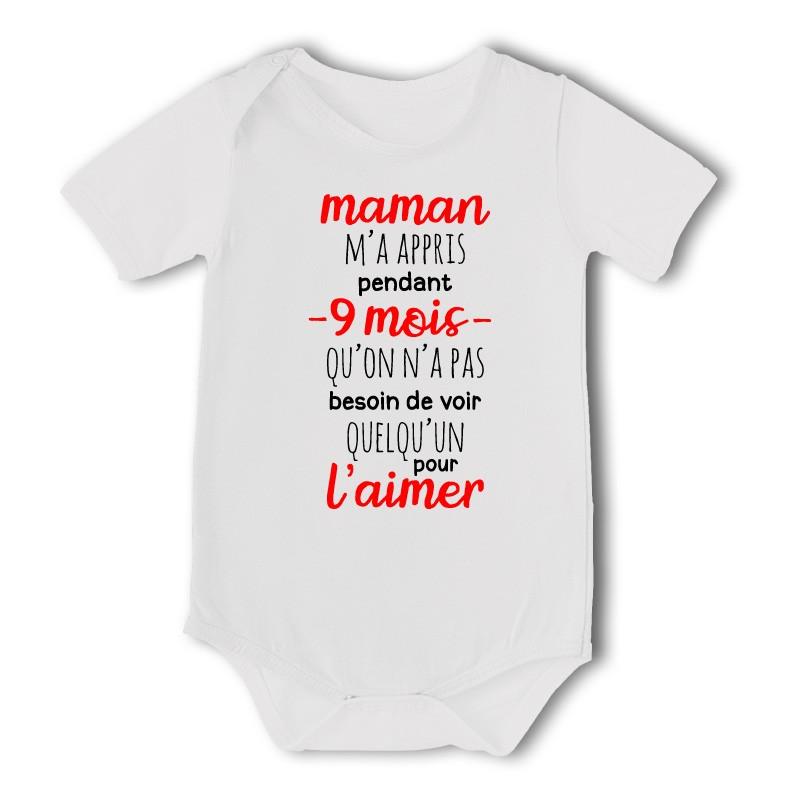 f57014392c5c3 Body bébé imprimé Maman m a appris pendant 9 mois