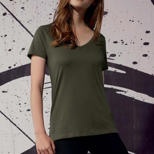 Personnalisez Votre T-shirt Femme coton Bio col V