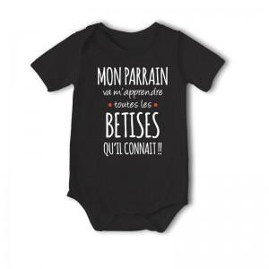 Body bébé imprimé parrain bétises