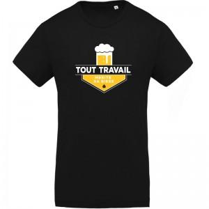 T-shirt imprimé Tout travail mérite sa bière