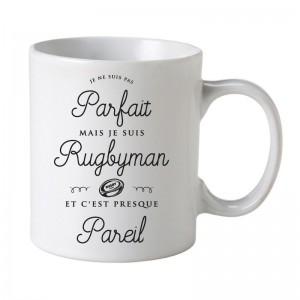 Mug Je ne suis pas parfait mais je suis rugbyman c'est presque pareil